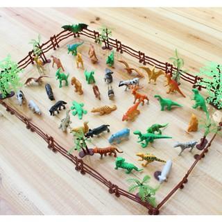 [BUDD&vn] 68 Pcs/set Simulation Models Zoo Animals with Tiger Lion Dinosaur Fence Trees