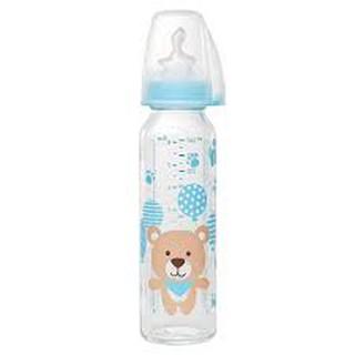 Bình sữa NIP thủy tinh cổ thường 250 ml có núm ti chỉnh nha, chống sặc, bằng silicon, thumbnail