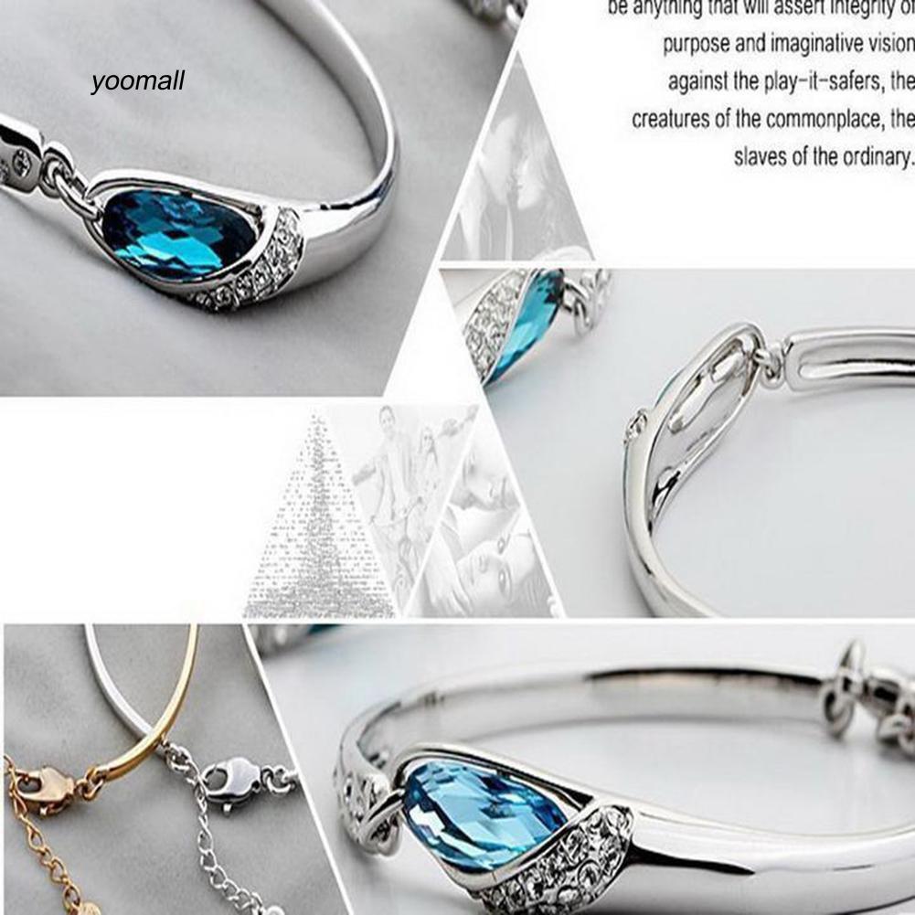 YOML✔Fashion Peacock Blue Rhinestone Chain Bracelet Women Charm Cuff Bangle Jewelry