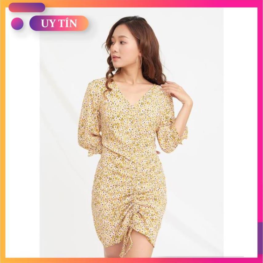 Đầm suông, váy suông cổ V chất vải lụa mềm mại, chun rút dây quyến rũ, full size, phù hợp mọi dáng