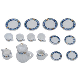 15pcs 1/12 Dollhouse Miniature Dining Ware Porcelain Tea Set