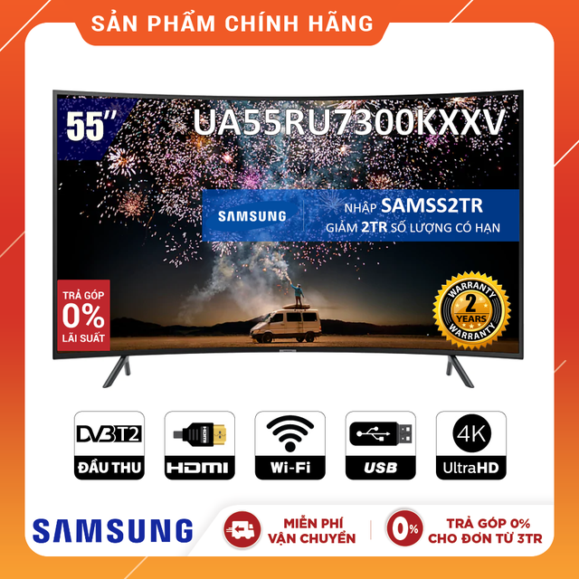 [Nhập SAMSS2TR Giảm 2TR] Smart Tivi Samsung 4K 55 inch UA55RU7300KXXV