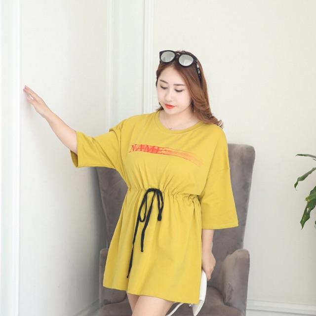 Áo thun big size màu vàng form dài rút eo size đại 85-100kg