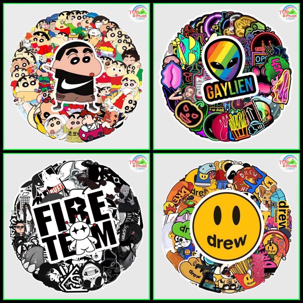 Hình dán Sticker cute trang trí dán mũ bảo hiểm, xe máy, điện thoại chống nước - Cao cấp, dày dặn
