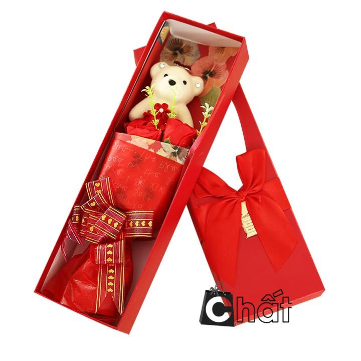 Quà sinh nhật– Hộp Quà 3 Hoa Hồng Sáp Thơm Kèm Gấu Bông