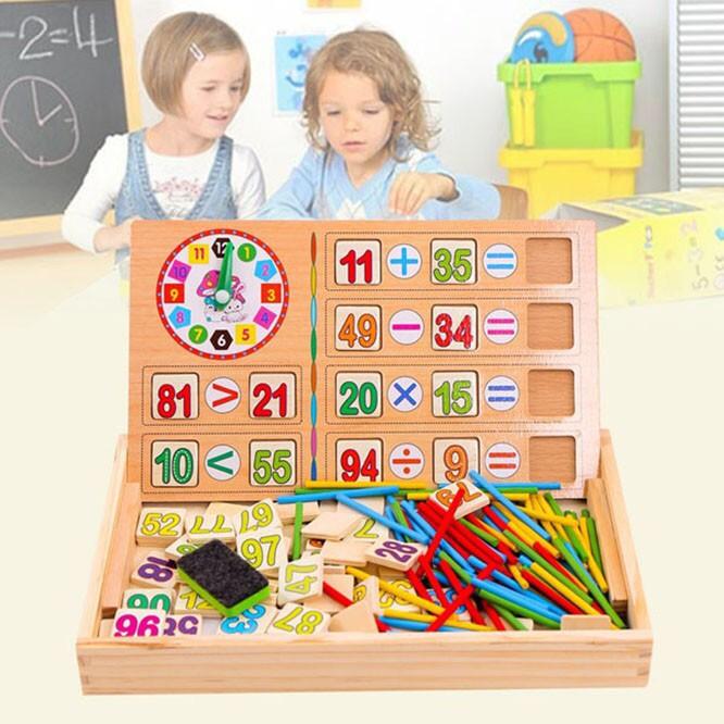 Bảng Gỗ Cho Bé Học Toán Tại Nhà 2 Mặt