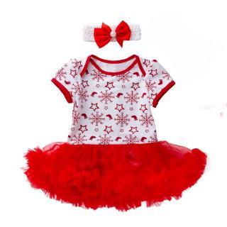 Set áo đầm liền quần họa tiết hoa tuyết Giáng sinh + băng cài đầu cho bé gái sơ sinh thumbnail