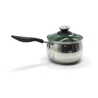 Nồi nấu bột inox Hoàng Gia 14cm nắp kính chịu lực sử dụng được trên bếp từ thường.