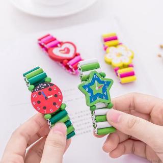 Đồng hồ đeo tay đồ chơi bằng gỗ họa tiết hoạt hình dễ thương cho bé