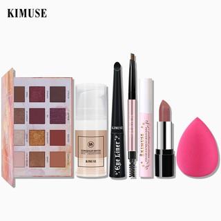 Set mỹ phẩm trang điểm KIMUSE gồm son môi + kẻ mày + bảng mắt 12 màu + mascara + kem nền chất lượng cao thumbnail