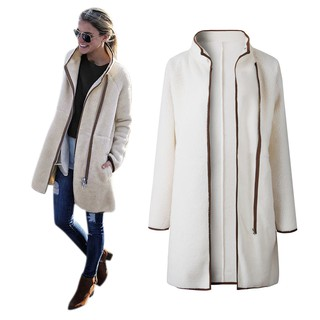 Women Warm Fluffy Coats High Neck Zipper Button Cardigan Outwear S