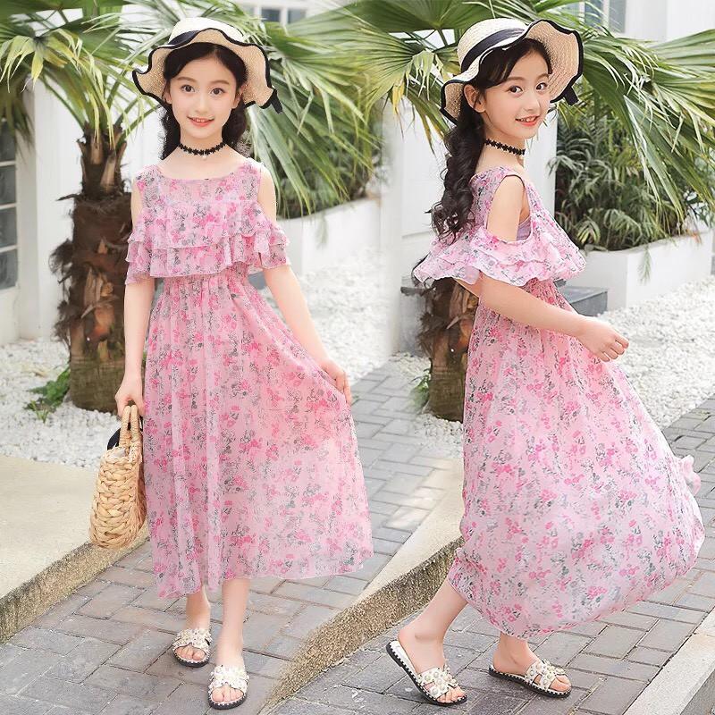 Váy bé gái hồng dài Voan hoa nhí MÃ 102👗