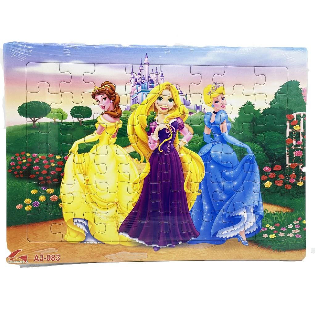 Tranh xếp hình A3, 48 mảnh ghép: Nàng Tiên cá, ba nàng công chúa, Aladin. Đồ chơi trí tuệ cho bé