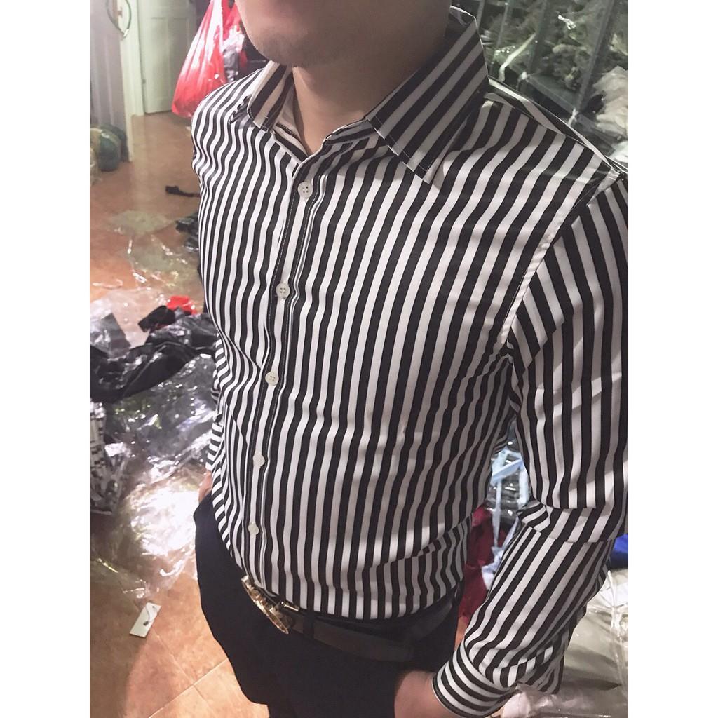 Áo sơ mi nam sọc trắng đen bản nhỏ vải lụa 100% không nhăn, không xù - 14165159 , 1456654275 , 322_1456654275 , 145000 , Ao-so-mi-nam-soc-trang-den-ban-nho-vai-lua-100Phan-Tram-khong-nhan-khong-xu-322_1456654275 , shopee.vn , Áo sơ mi nam sọc trắng đen bản nhỏ vải lụa 100% không nhăn, không xù