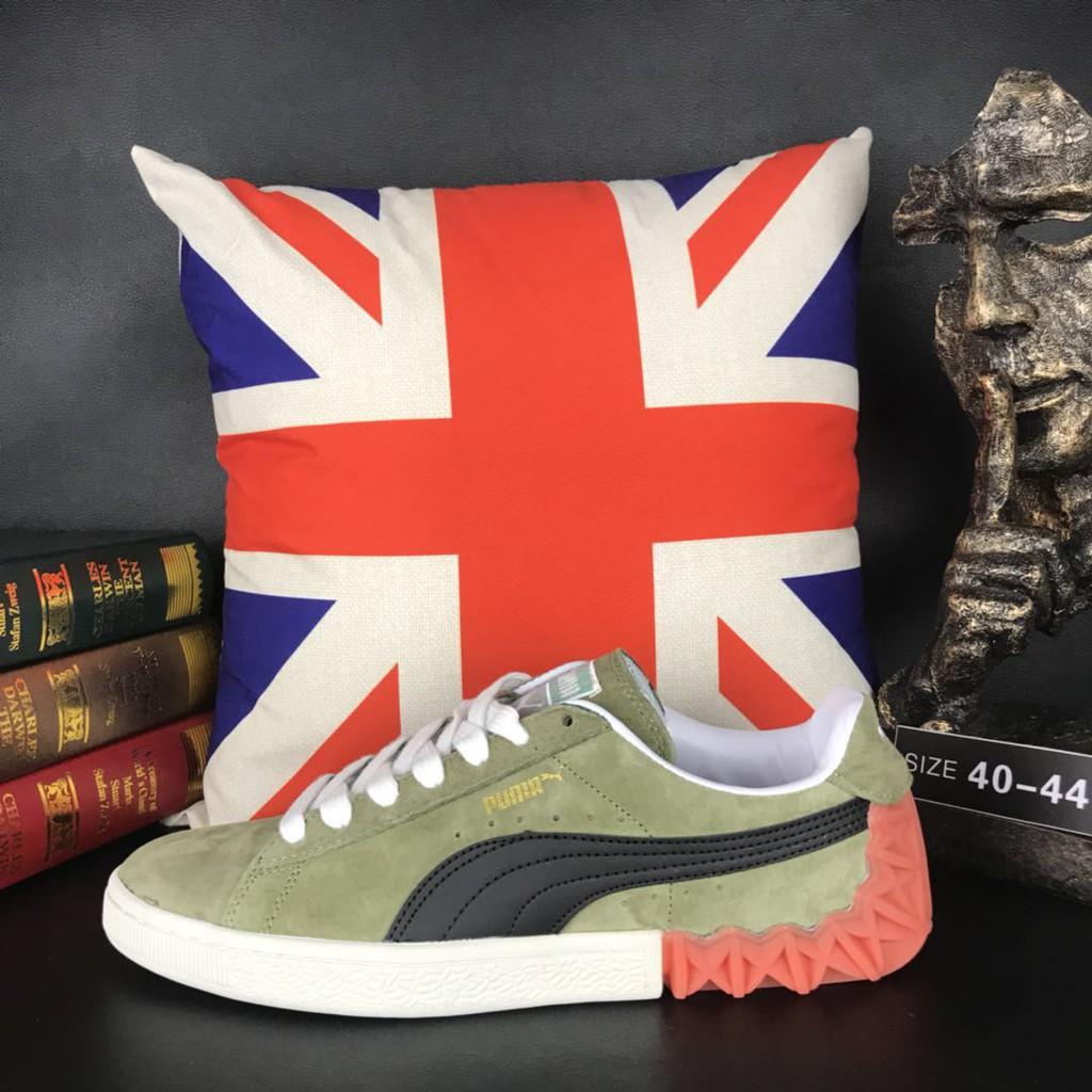 พร้อมต้นฉบับ Puma Suede คลาสสิกรองเท้าลำลองแฟชั่นรองเท้ากีฬาสีเขียวสีดำ