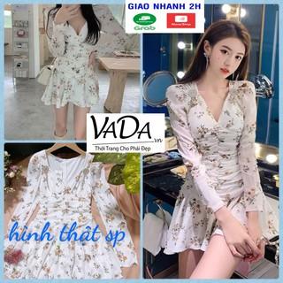 Đầm xoè dự tiệc tầng tay dài in hoa 3D sắc sảo tay phồng điệu kiêu sa cao cấp - Thời trang VADA - Đ677 thumbnail