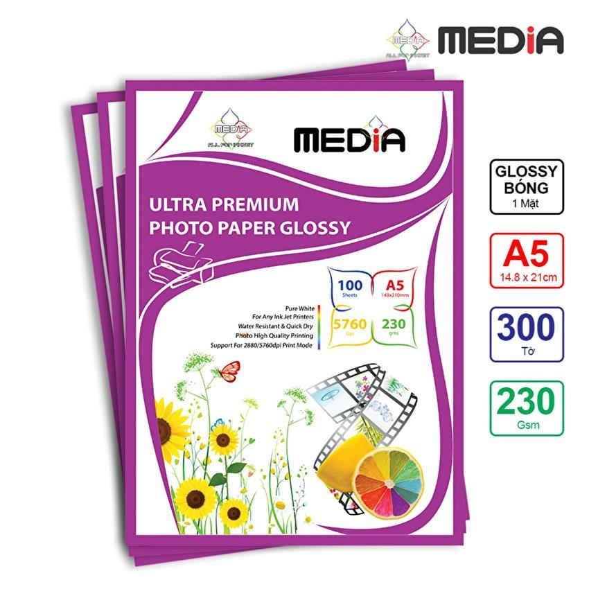 Bộ 3 Xấp Giấy In Ảnh Media 1 Mặt Bóng A5 230gsm 100 Tờ x 3