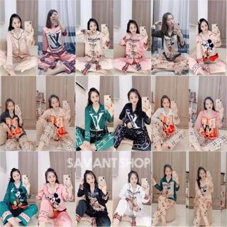 [ Hơn 100 Mẫu ] Bộ Mặc Nhà Pijama Tay Dài Lụa Satin Cao Cấp In Nhiệt 3D Mẫu Mới