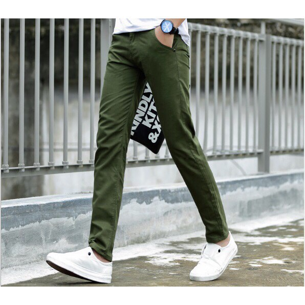 Quần kaki xanh rêu thời trang phong cách trẻ trung năng động