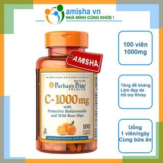Viên Uống Bổ Sung Vitamin C-1000mg Puritan's Pride Mỹ 100 Viên (Vitamin C-1000 Mg With Bioflavonoids & Wild Rose)