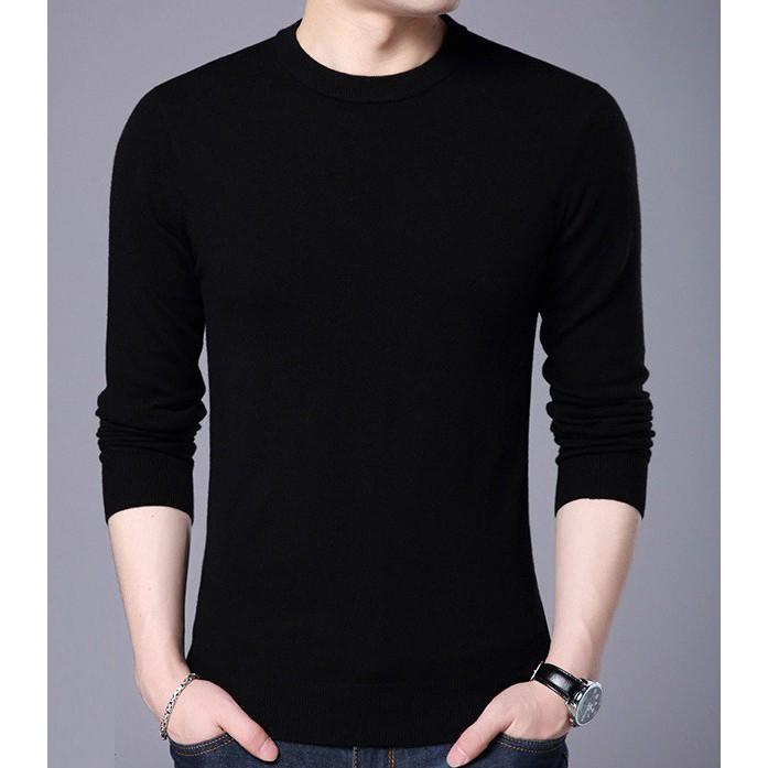 Áo len trơn cao cấp nam màu đen