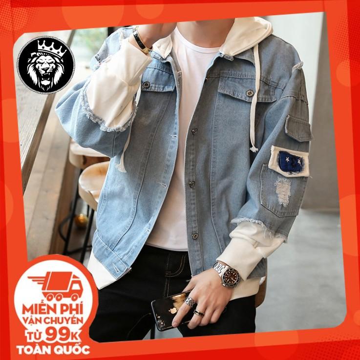 Áo Bò Nam Rách Phong Cách Quảng Châu Cao Cấp - Áo khoác jeans - Khoác jean cá tính Áo khoác jeans
