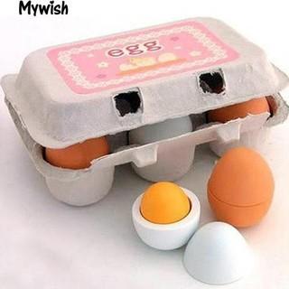 👶🏼6Pcs/Lot Preschool Pretend Cooking Play Odorless Wooden Egg Toys Set