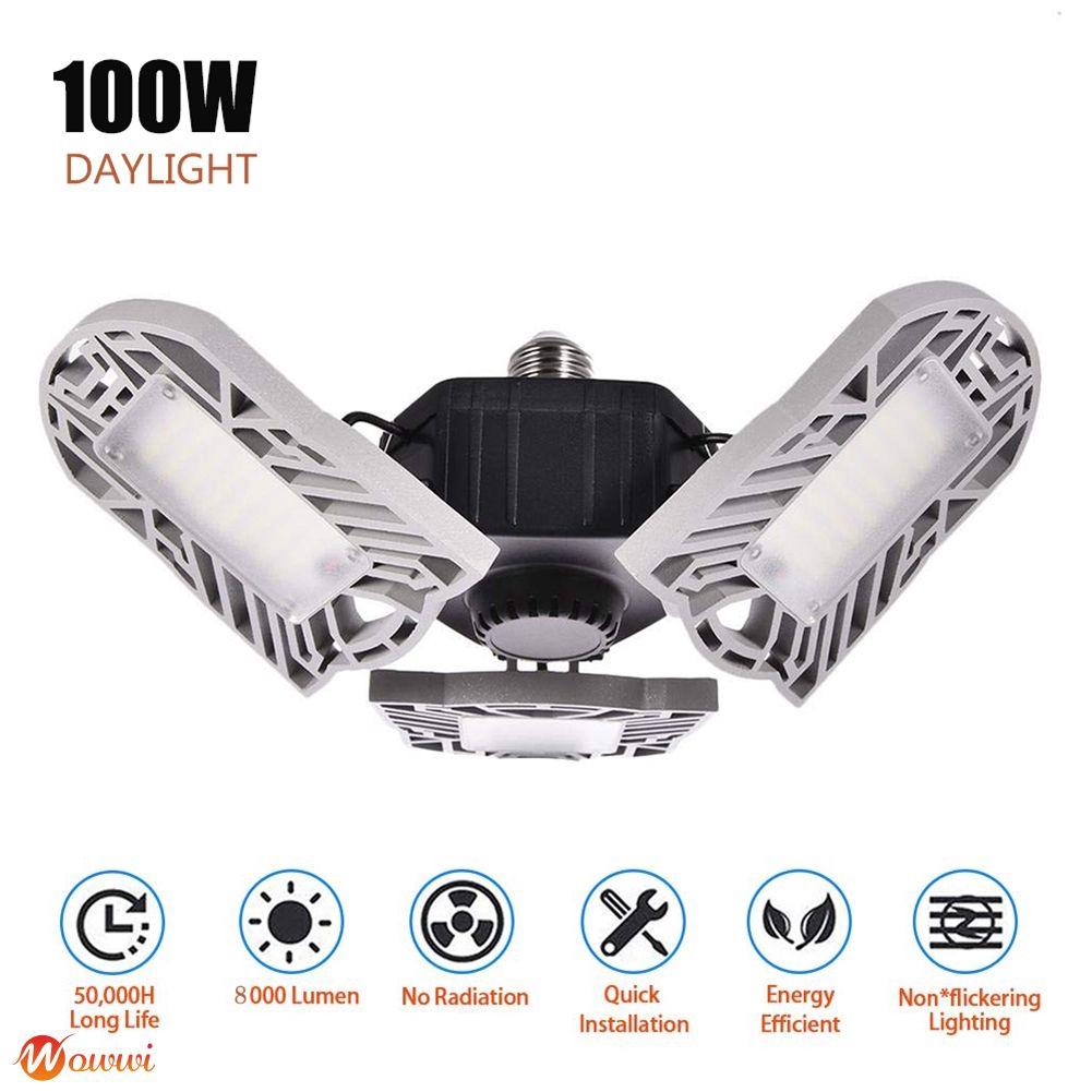 ❥ 360 Degrees LED Garage Light Deformable Ceiling Light Indoor for Garage Workshop Gdth