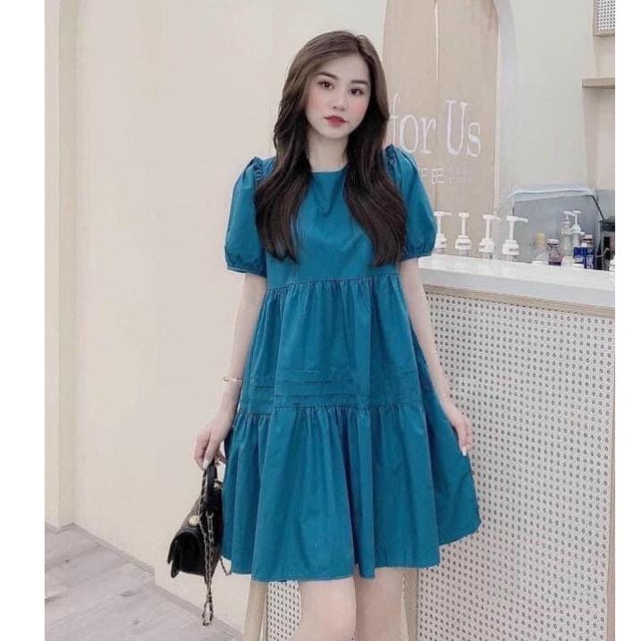 Mặc gì đẹp: Dễ chịu với Váy bầu mùa hè - đầm bầu suông màu xanh cổ tròn 3 tầng freesize tới 70kg BN47