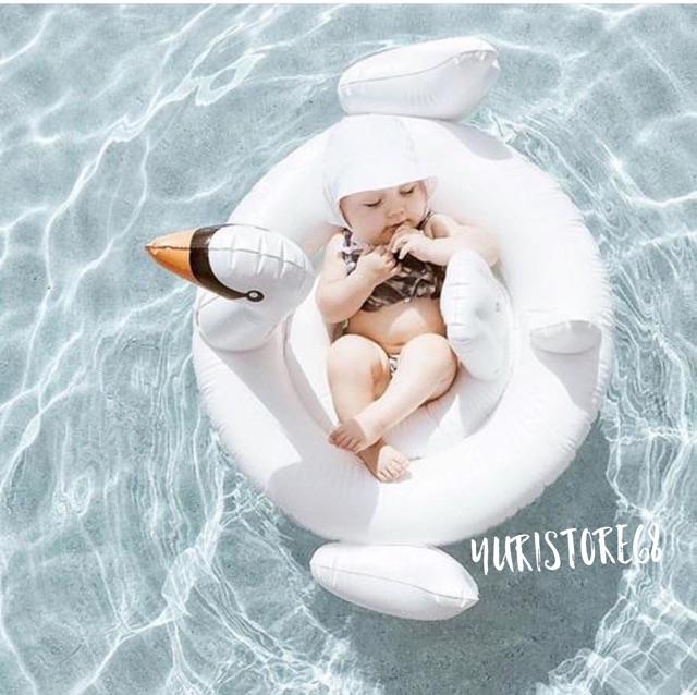 Combo phao vịt trắng khổng lồ mẹ và phao cho bé