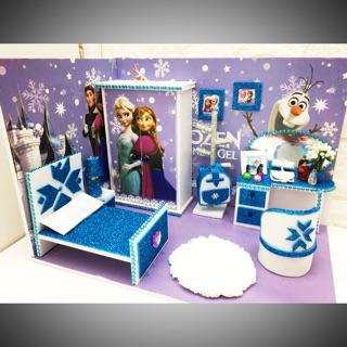 Nhà búp bê dollhouse hình công chúa elsa roombox
