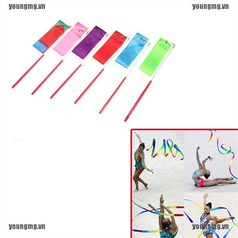 YG Gym Dance Ribbon Gymnastics Art Ballet Streamer Twirling Rod Outdoor Sport 2M
