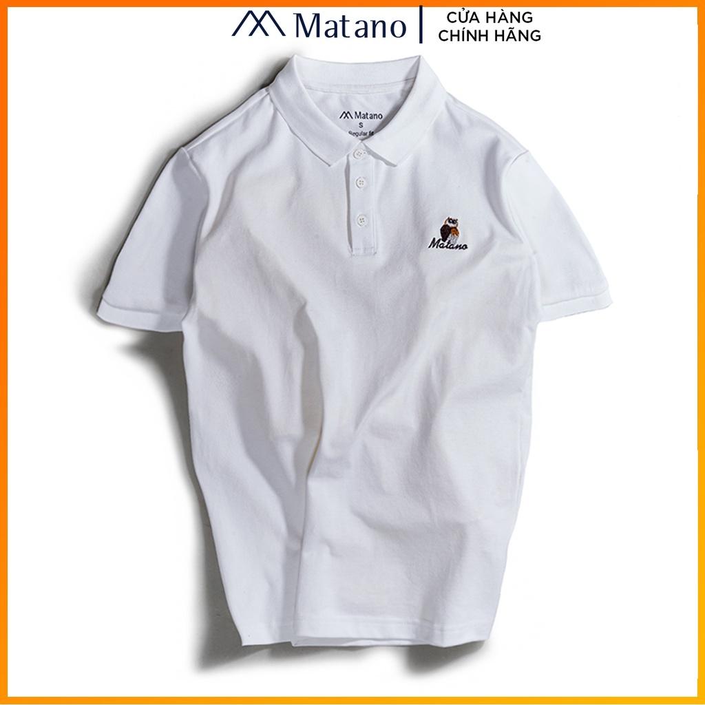 Áo thun polo nam cá sấu trắng MATANO - Áo phông nam có cổ trụ bẻ, vải cotton cao cấp chính hãng, thêu họa tiết đẹp 027