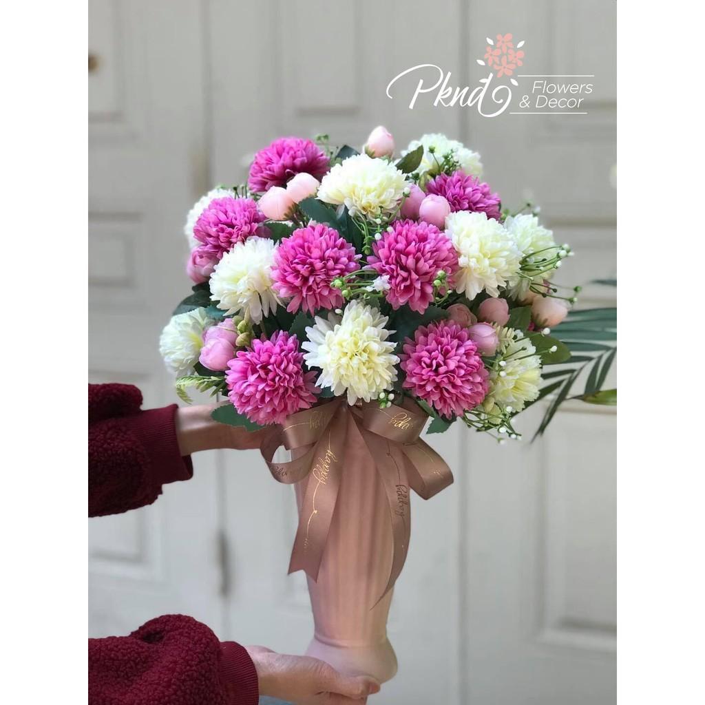 Bình hoa giả Cúc Ping Pong PKND ( sản phẩm gồm cả bình và hoa)