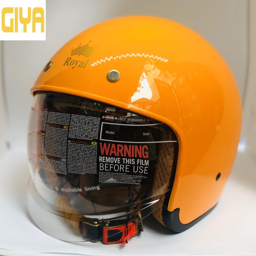 Mũ bảo hiểm xe máy 3/4 Royal M139 có kính âm màu khói trà size M,L,XL dành cho nam nữ