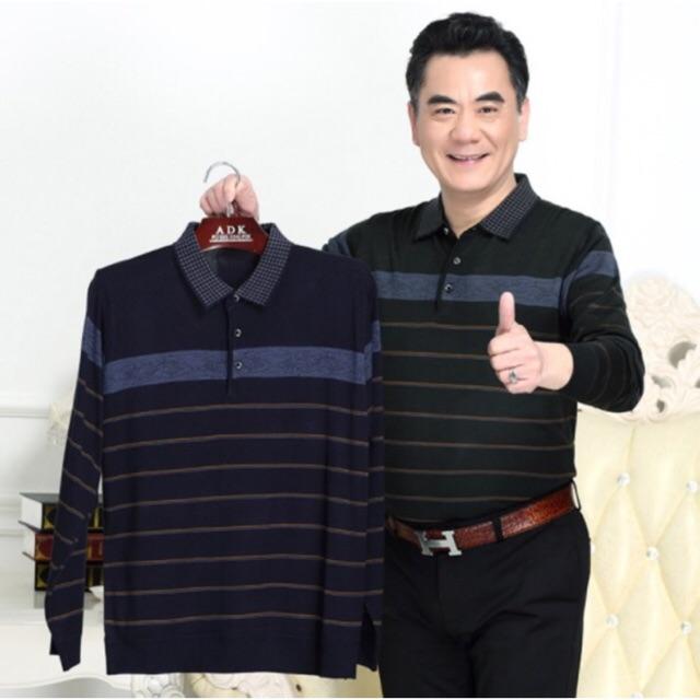 Áo dài tay cotton nam trung niên kẻ cao cấp