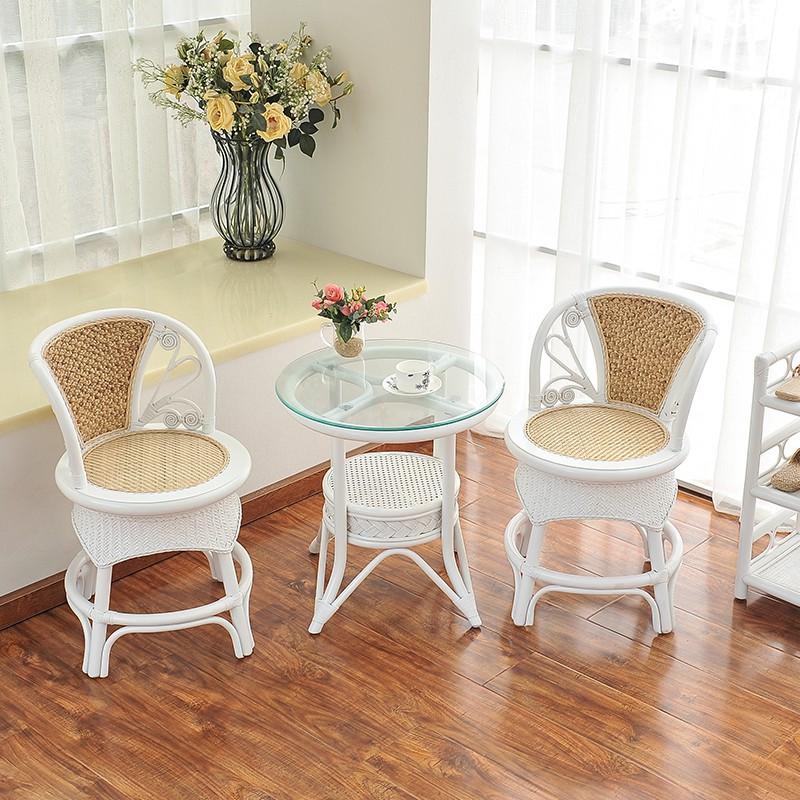 set 3 món đồ ghế đan mây màu trắng phong cách châu âu