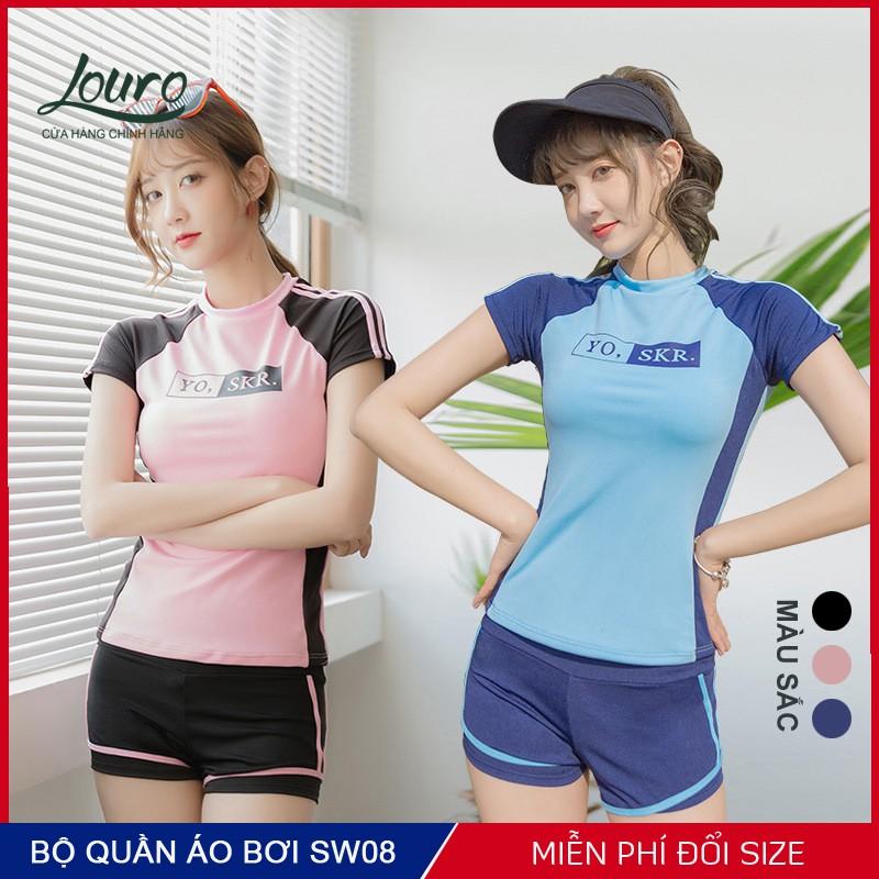 Bộ đồ bơi nữ kín đáo Louro SW08, kiểu quần áo bơi nữ tay ngắn, mặc đi tắm, đi biển rất đẹp theo phong cách Hàn Quốc