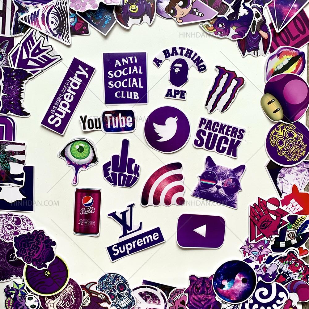 Sticker MÀU TÍM - PURPLE decal hình dán chống nước trang trí xe, laptop, nón bảo hiểm, tem dán