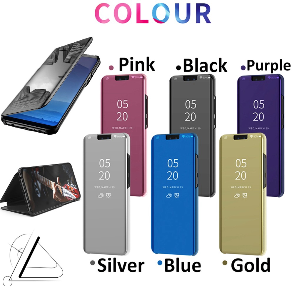 Samsung Galaxy A10 A20 A30 A40 A50 A70 A6s A8s A9s Smart Plated Mirror Surface Flip Cover Clear View Mirror Glossy Case