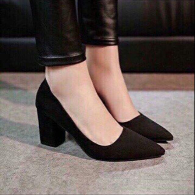 Giày cao gót đế trụ nữ da lộn màu đen# ảnh thật