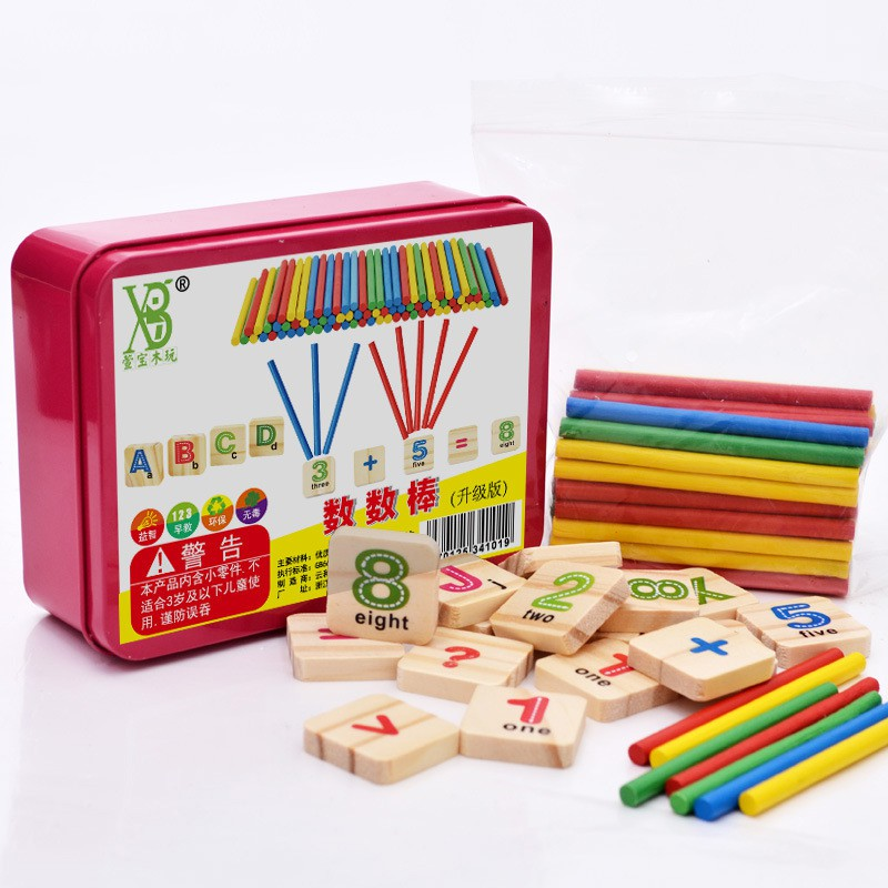 Đồ chơi học toán cho bé gồm que tính học toán, bảng chữ cái gỗ và số thông minh, giáo cụ montessori trẻ từ 3 tuổi
