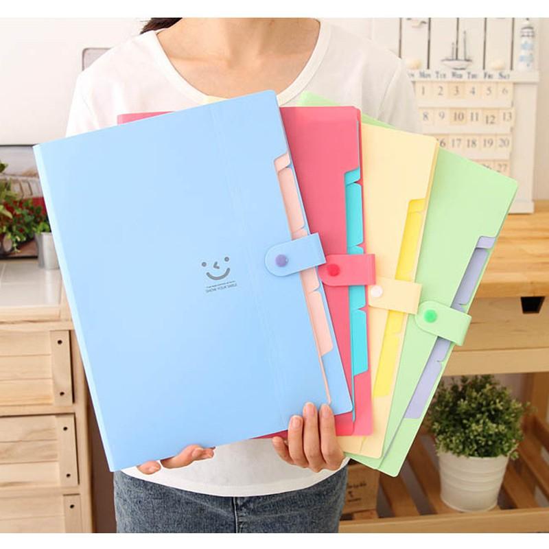 Túi đựng giấy A4 giấy kiểm tra nhiều ngăn (mặt cười)