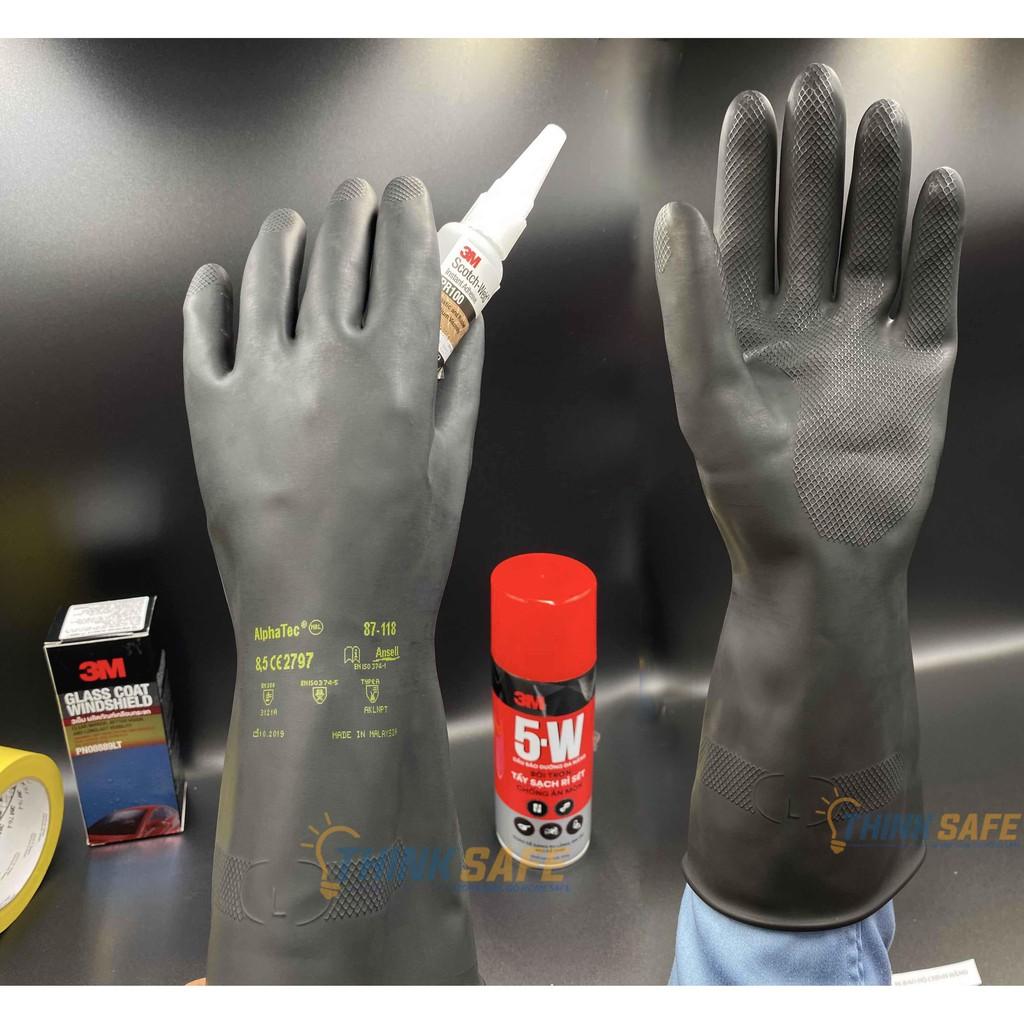 Găng tay chống hóa chất Alphatec 87-118 bao tay chống dầu, chống hóa chất (Màu đen)