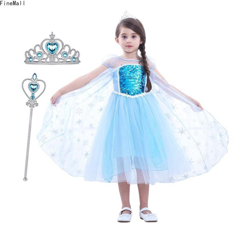 Đầm công chúa Elsa kèm vương miện và quyền trượng độc đáo cho bé gái 2-8 tuổi