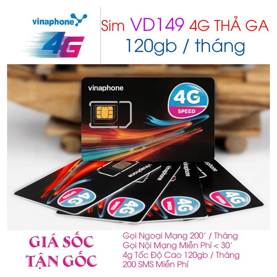 [ GIÁ GỐC ] SIM 4G Vinaphone VD79 - VD149 Lên Tới 120GB/ Tháng ( Miễn Phí Data ) và Gọi Miễn Phí
