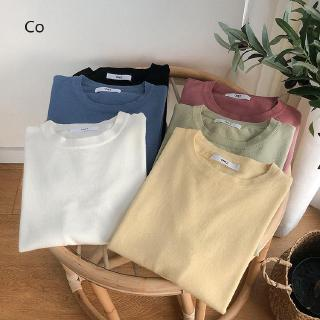 Basic Knitted Simple Practical Thin-skinned Pullovers Pure-colour