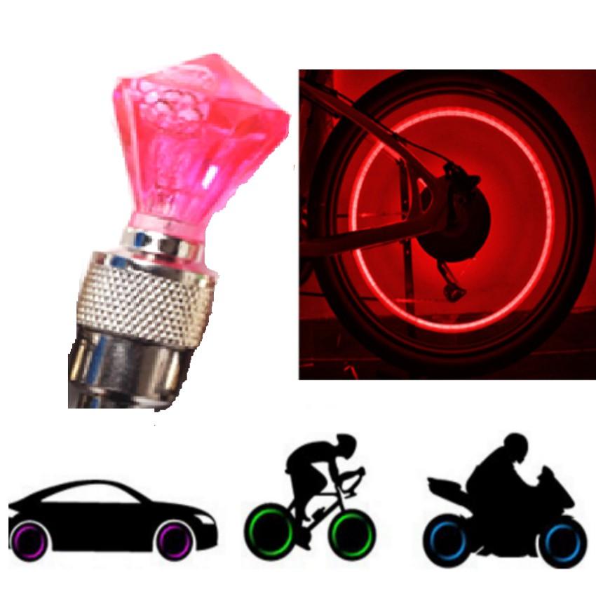 Đèn Led Gắn Van Xe Kim Cương Trang Trí Và An Toàn Xe HQ206309-21(đỏ)