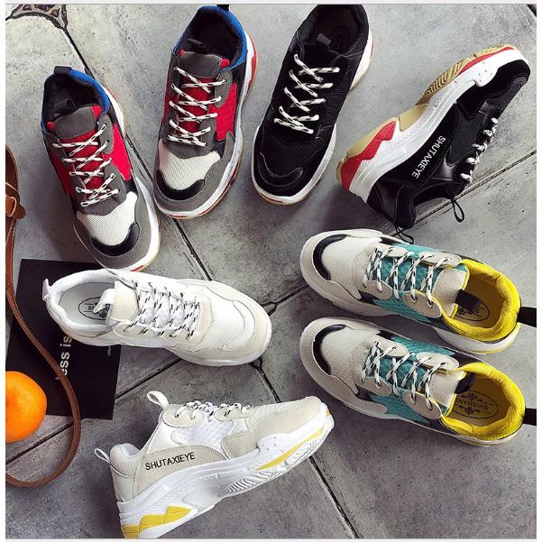 (Freeship) Giày thể thao sneaker nữ phối màu dáng Triple