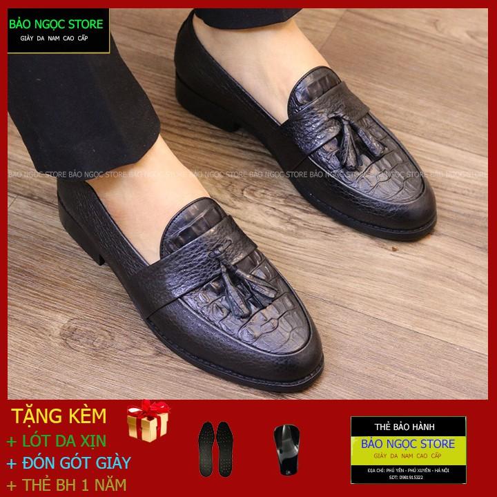 Giày Lười Nam Dập Vân Cá Sấu Băng Chuông Thời Trang✅ Giầy Da Nam Da Bò 100% 💥 Đế Cao Su Cao 3cm ✅ Mã K12 Đen